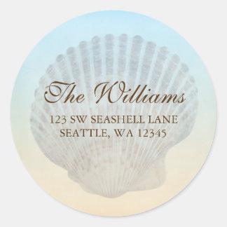 Seashell Tropical Beach Address Label Round Sticker