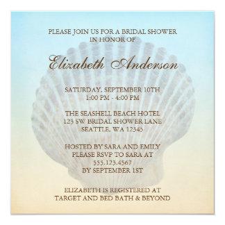 "Seashell Tropical Beach Bridal Shower 5.25"" Square Invitation Card"