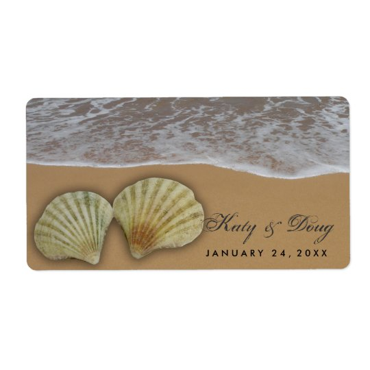 Seashell wedding labels with beach and sand