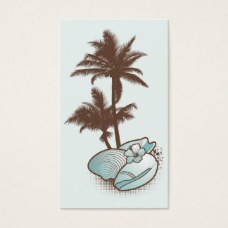 seashells and palmtree 1 blue business card