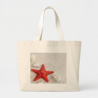 seashells and starfish large tote bag