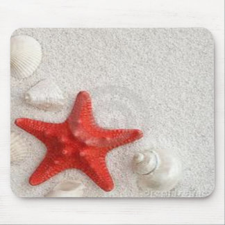 seashells and starfish mouse mat