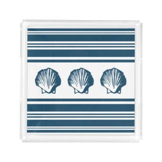 Seashells and stripes acrylic tray