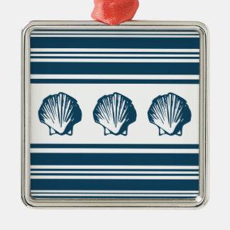 Seashells and stripes christmas ornament