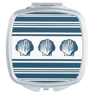 Seashells and stripes makeup mirrors