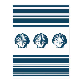 Seashells and stripes postcard