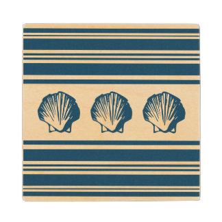 Seashells and stripes wood coaster
