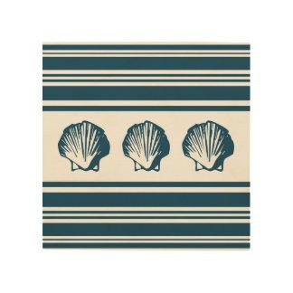 Seashells and stripes wood wall art