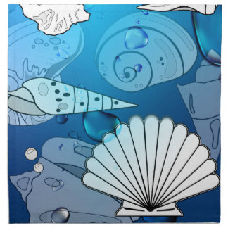 Seashells Aqua Ocean Summer Cloth Napkin