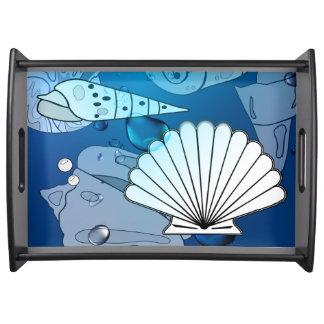 Seashells Aqua Ocean Summer Serving Tray