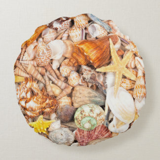 Seashells Background Round Cushion