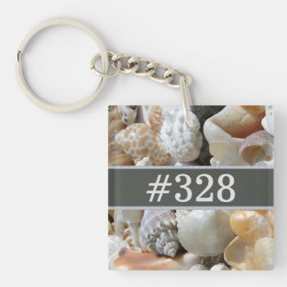 Seashells Beach Business Hotel Room Number Single-Sided Square Acrylic Key Ring