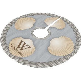 Seashells Beach Grey Planks White Ropes Monogram Brushed Polyester Tree Skirt