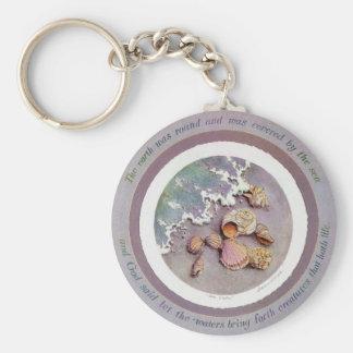 SEASHELLS by SHARON SHARPE Basic Round Button Key Ring