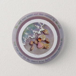 SEASHELLS by the SEASHORE by SHARON SHARPE 6 Cm Round Badge