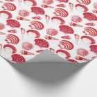 Seashells - cinnabar red on a white background wrapping paper