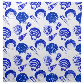 Seashells - cobalt blue on a white background napkin