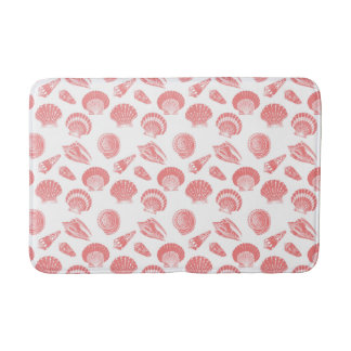 Seashells - coral pink and white bath mat
