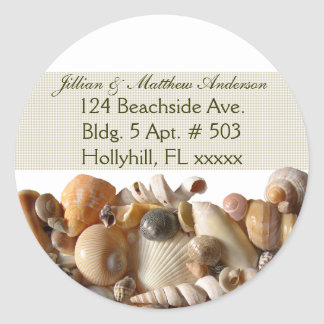 Seashells Customizable Address Labels, Ribbon Classic Round Sticker