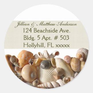 Seashells Customizable Address Labels, Ribbon Round Sticker