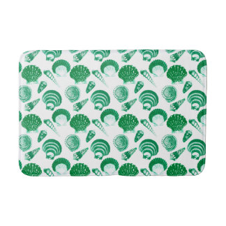 Seashells - emerald green on a white background bath mat