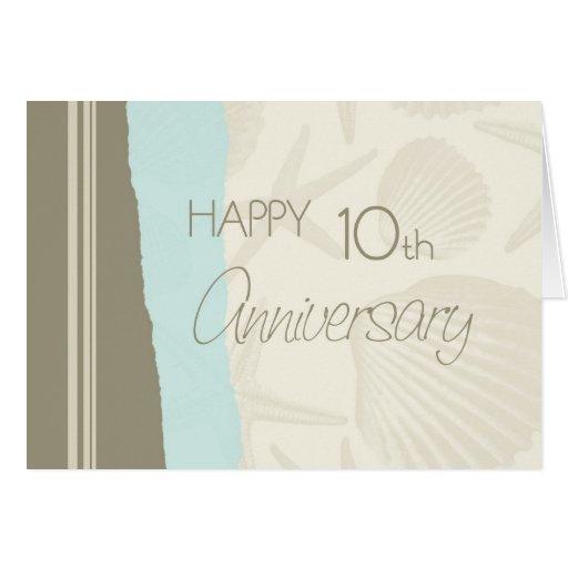 Seashells Happy 10th Wedding Anniversary Card