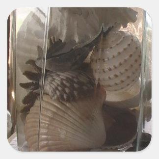 Seashells in a Jar Square Sticker