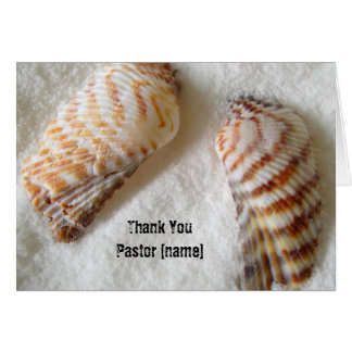 Seashells in Sand Pastor Clergy Thank You Card