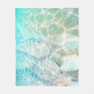 Seashells in Shorebreak sheet Fleece Blanket