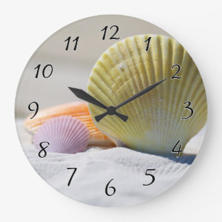 Seashells in White Sand Large Clock