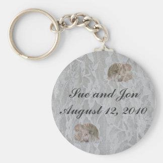 SeaShells & Lace Basic Round Button Key Ring