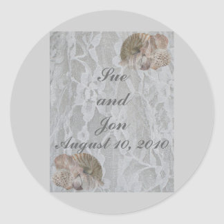 SeaShells & Lace Round Sticker