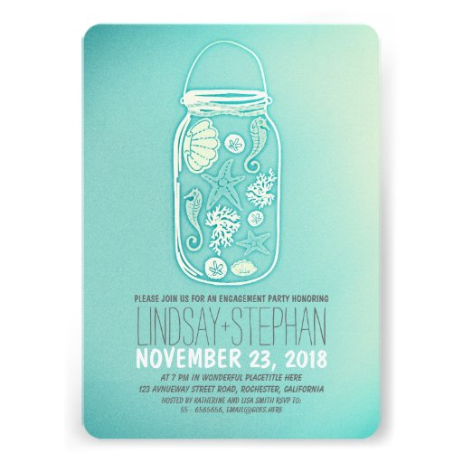 Seashells mason jar beach engagement party invite