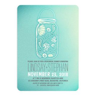 "Seashells mason jar beach rehearsal dinner invite 5"" x 7"" invitation card"