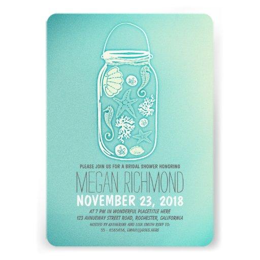 Seashells mason jar teal beach bridal shower invite