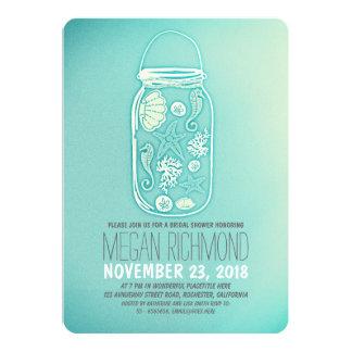 Seashells mason jar teal beach bridal shower 5x7 paper invitation card