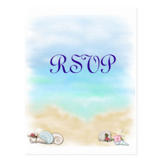 Seashells Ocean Beach Theme Wedding RSVP Postcard