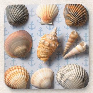 Seashells On Anchor Backdrop Coasters