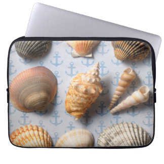 Seashells On Anchor Backdrop Laptop Sleeve