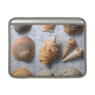 Seashells On Anchor Backdrop MacBook Sleeve