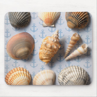 Seashells On Anchor Backdrop Mouse Mat