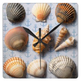 Seashells On Anchor Backdrop Square Wall Clock