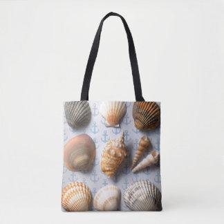 Seashells On Anchor Backdrop Tote Bag