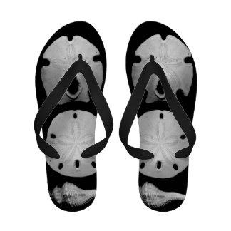 Seashells on Black Flip-Flops