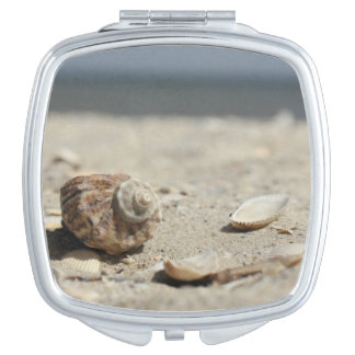Seashells On Sand By The Sea Mirror For Makeup