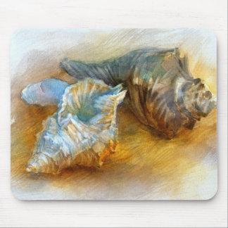 Seashells on the beach mouse mat