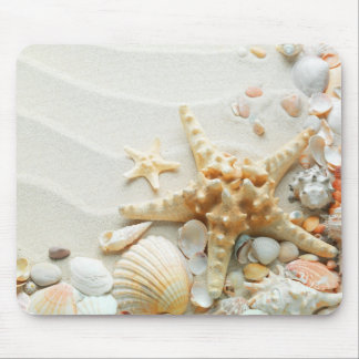 Seashells on the beach mouse pad