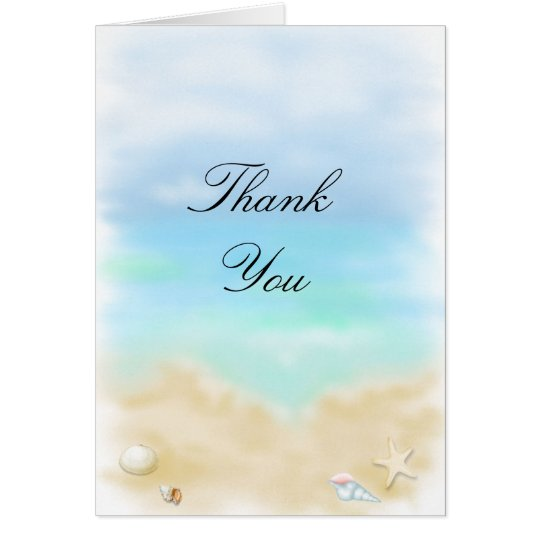 Seashells on the Beach   Wedding Thank You Card