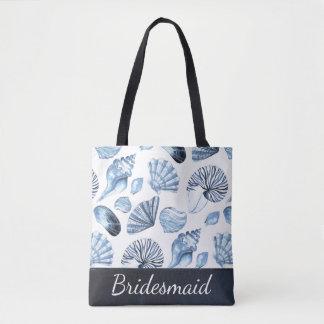 Seashells Pattern in Blue Beach Wedding Bridesmaid Tote Bag