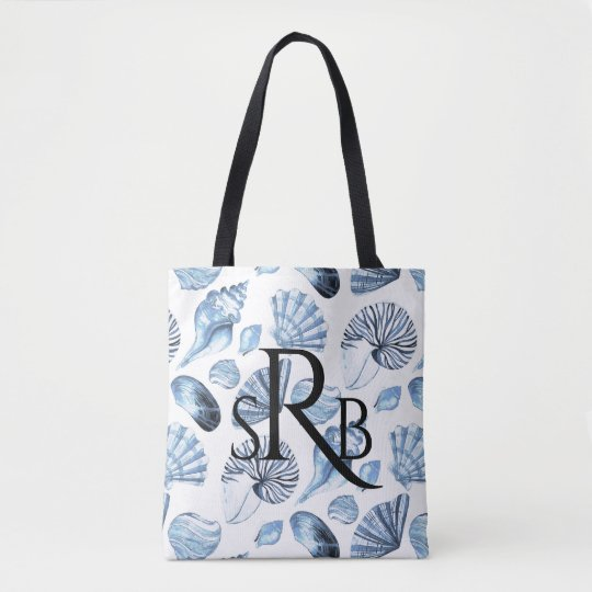 Seashells Pattern in Blue Beach Wedding Monogram Tote Bag